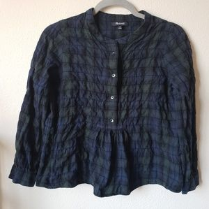 Madewell | Cropped Flannel Peplum Pleated Top XS